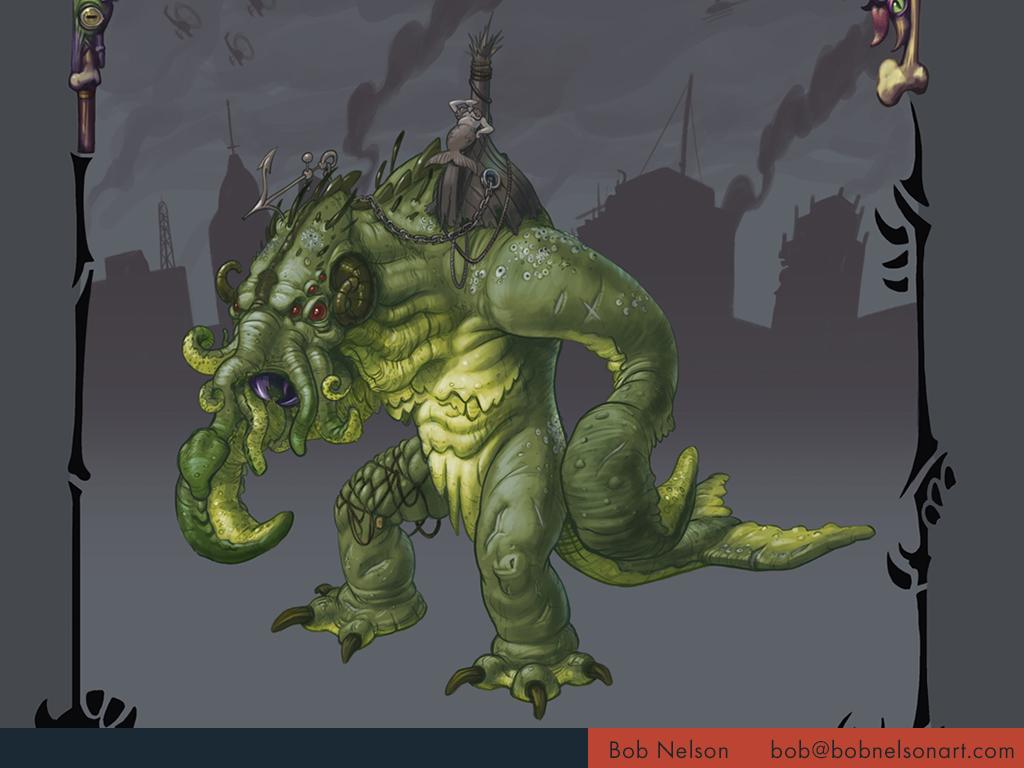 Giant monster risen from the depths, bent on destruction