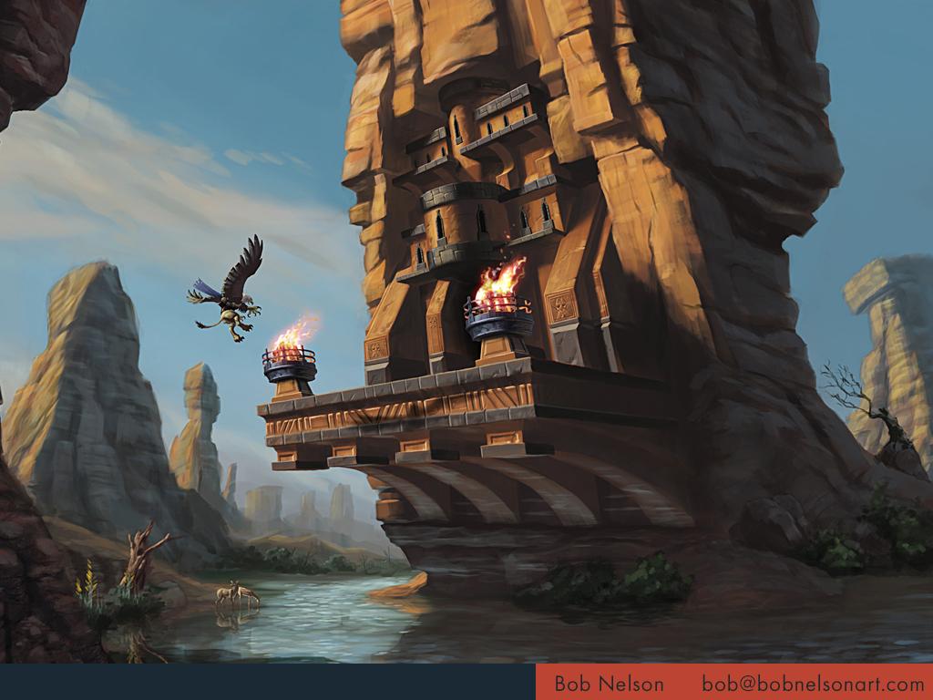 Landing at the desert fortress
