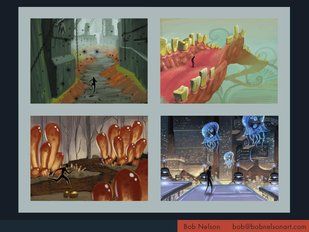 Thumbnails for surreal platformer