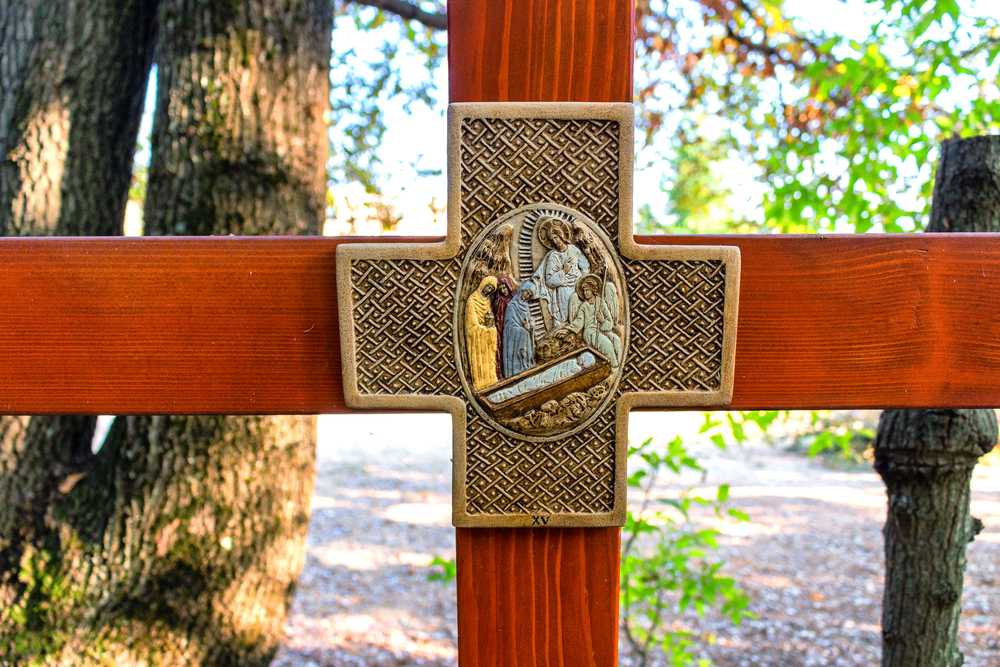Wooden Cross on Mount Podbrdo, the Apparition hill overlooking the village of Medjugorje in Bosnia ed Erzegovina