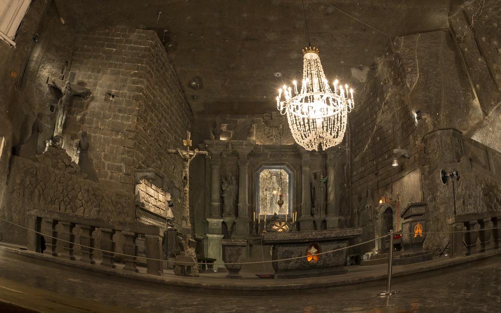 The magnificent underground Chapel in the Wieliczka Salt Mines in Poland