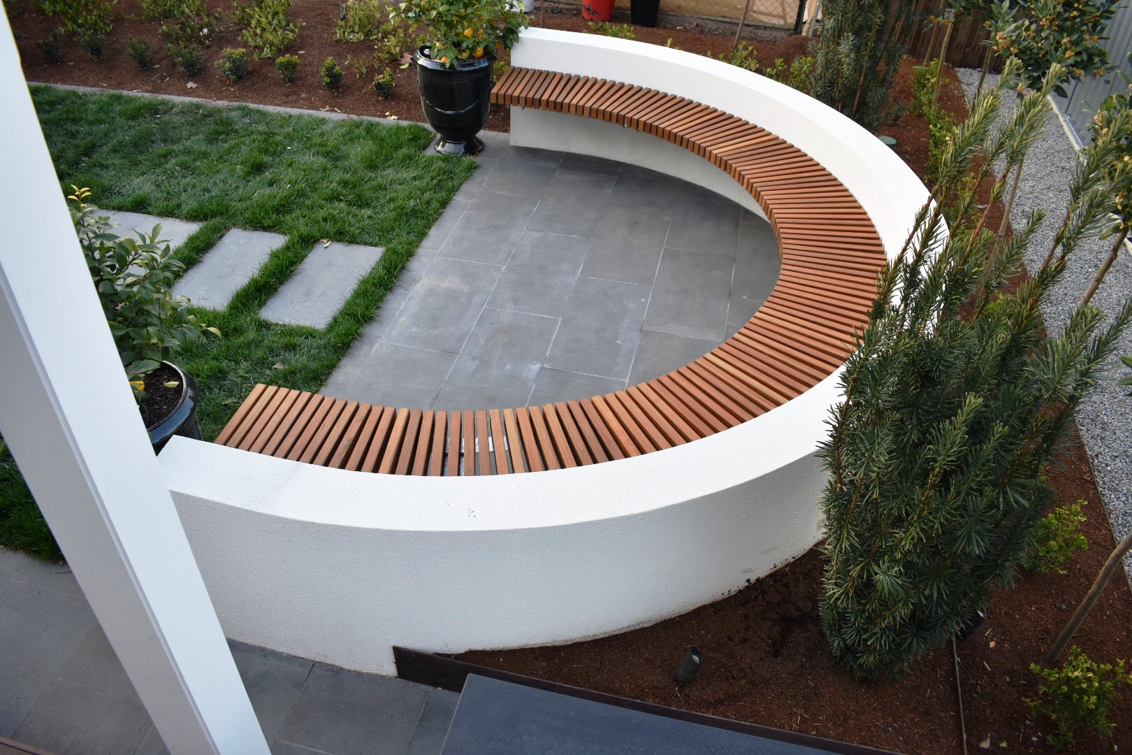 Custom Outdoor Seating - Curved Bench Seat