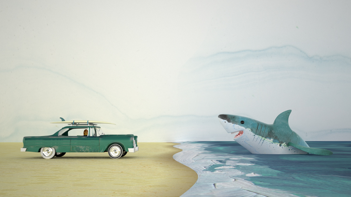 Screen grab from a short animation about a surfer and shark meeting