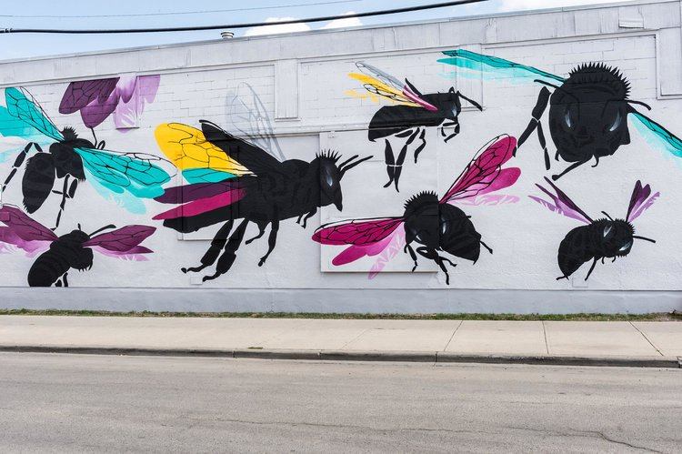 "Bee Together   Mural  ( Calgary, 2018)  ""This mural is meant to activate our imagination about a species so vital to our ecosystem and so often ignored for economic and technical advances."""