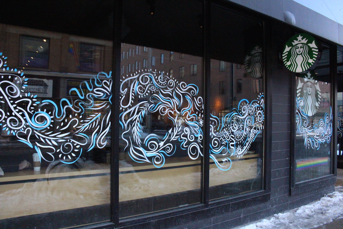 Ottawa Winterlude Fire & Ice Festival  ( 2019)  Three samples of the 14 Store front window Murals I painted along Ottawa's Bank street for the Fire & Ice Festival.