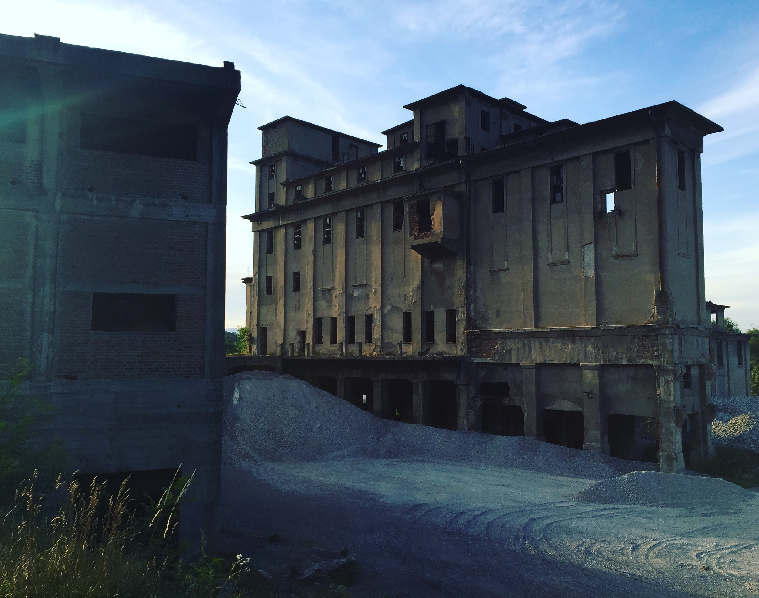 Abandoned buildings along the way.