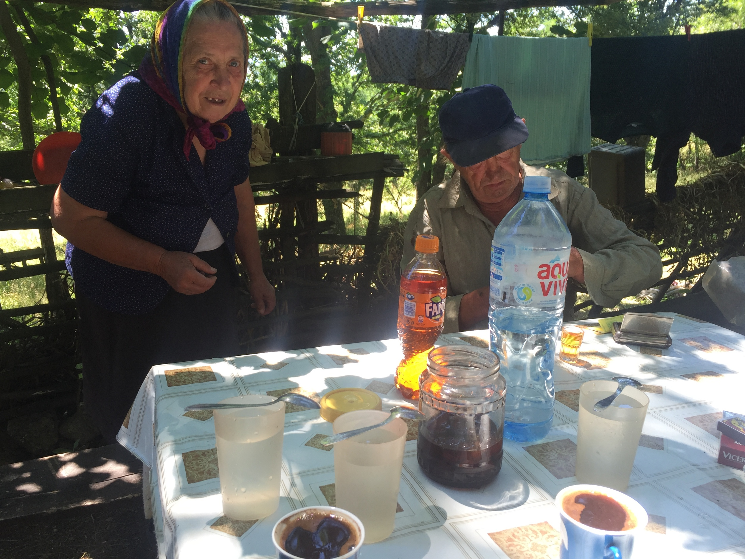 Yuhu's parents who gave us coffee, water, jam, and of course,  rakia .