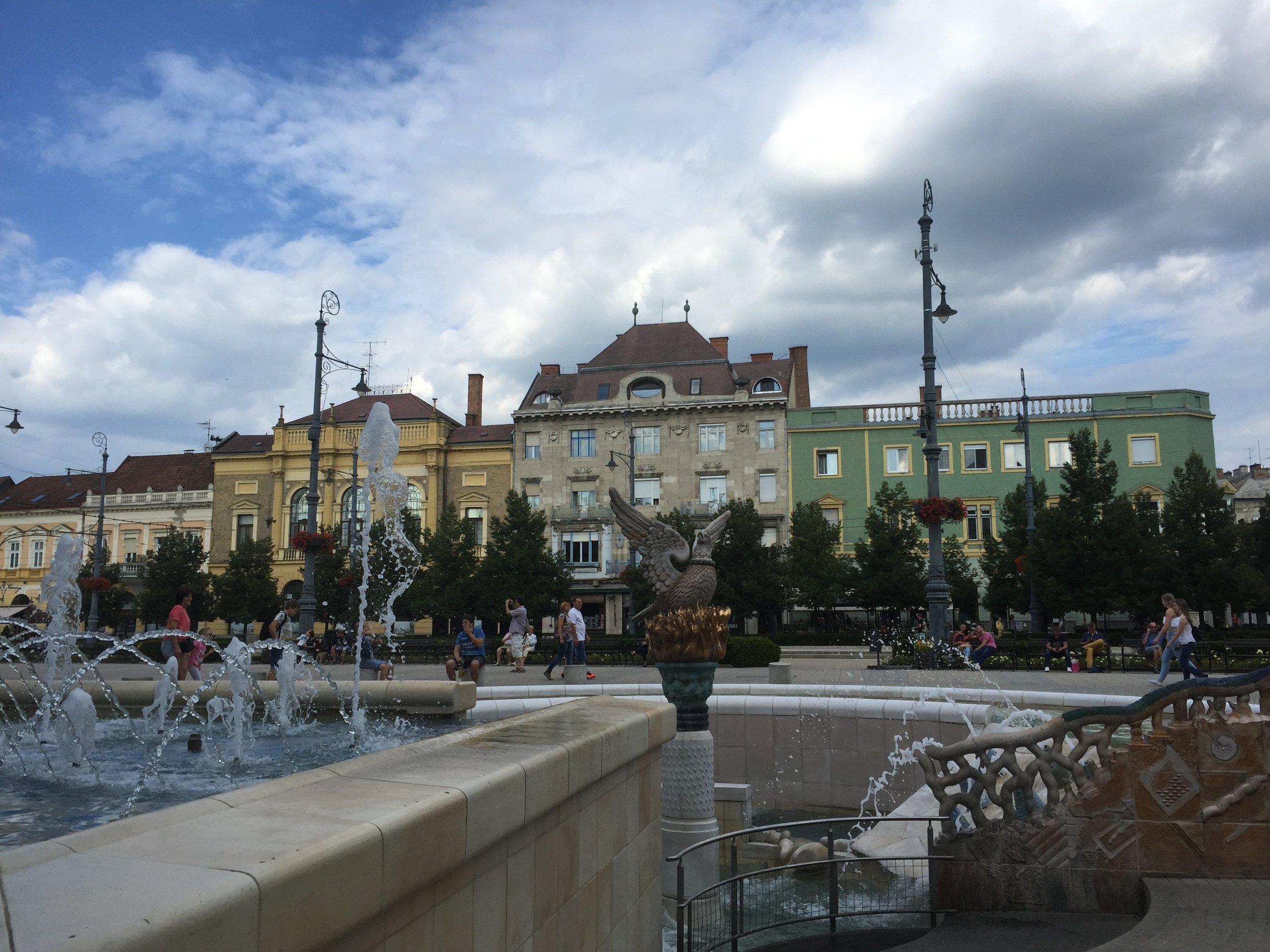 Buildings in the center of Debrecen.