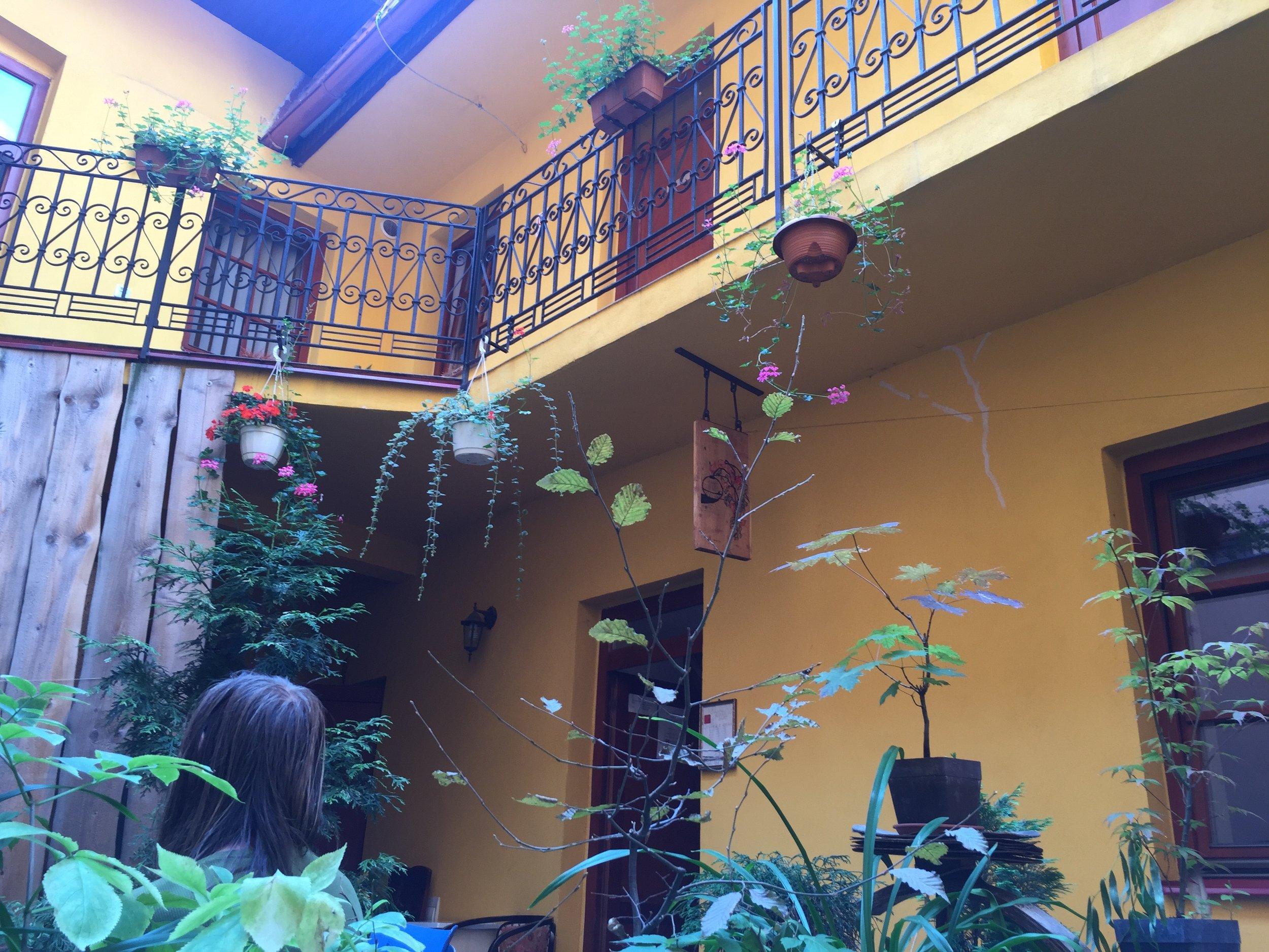 Inside a tea garden in Prešov.