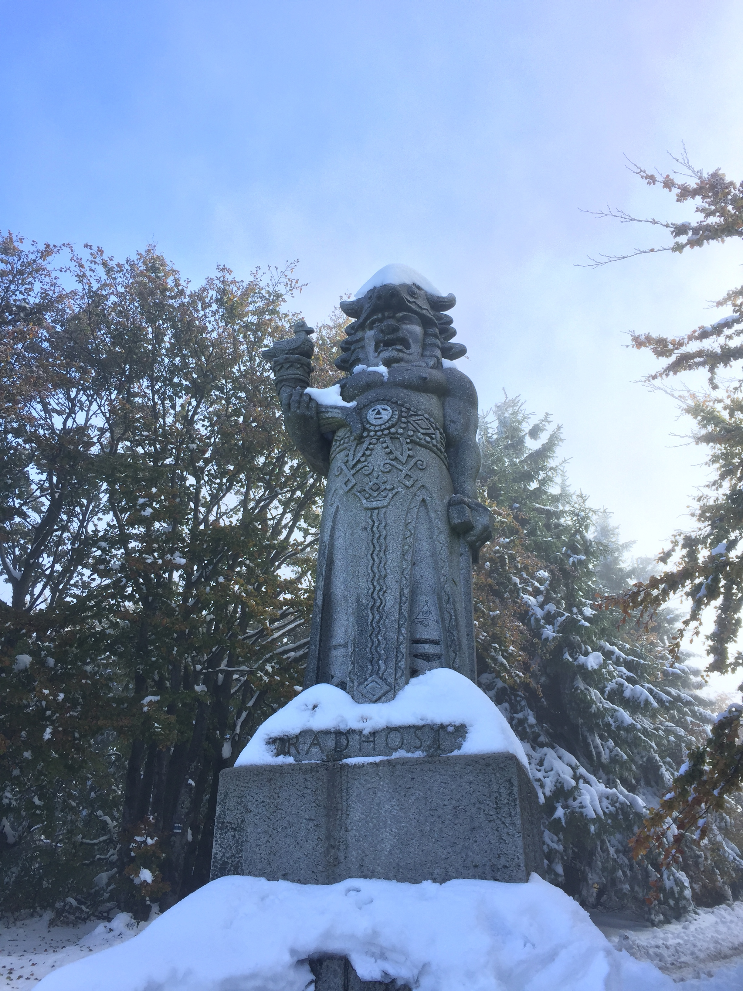 Statues in snow.