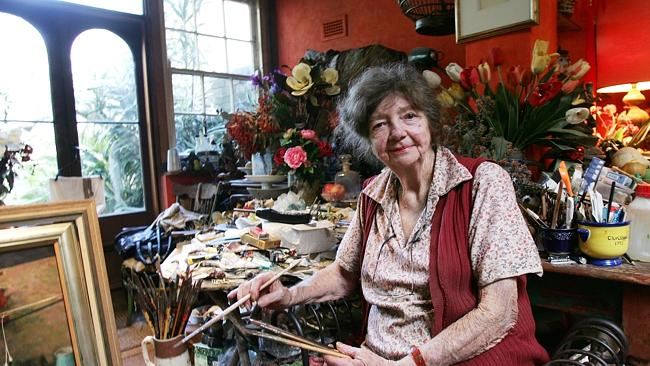 Margaret Olley in her studio in Paddington.