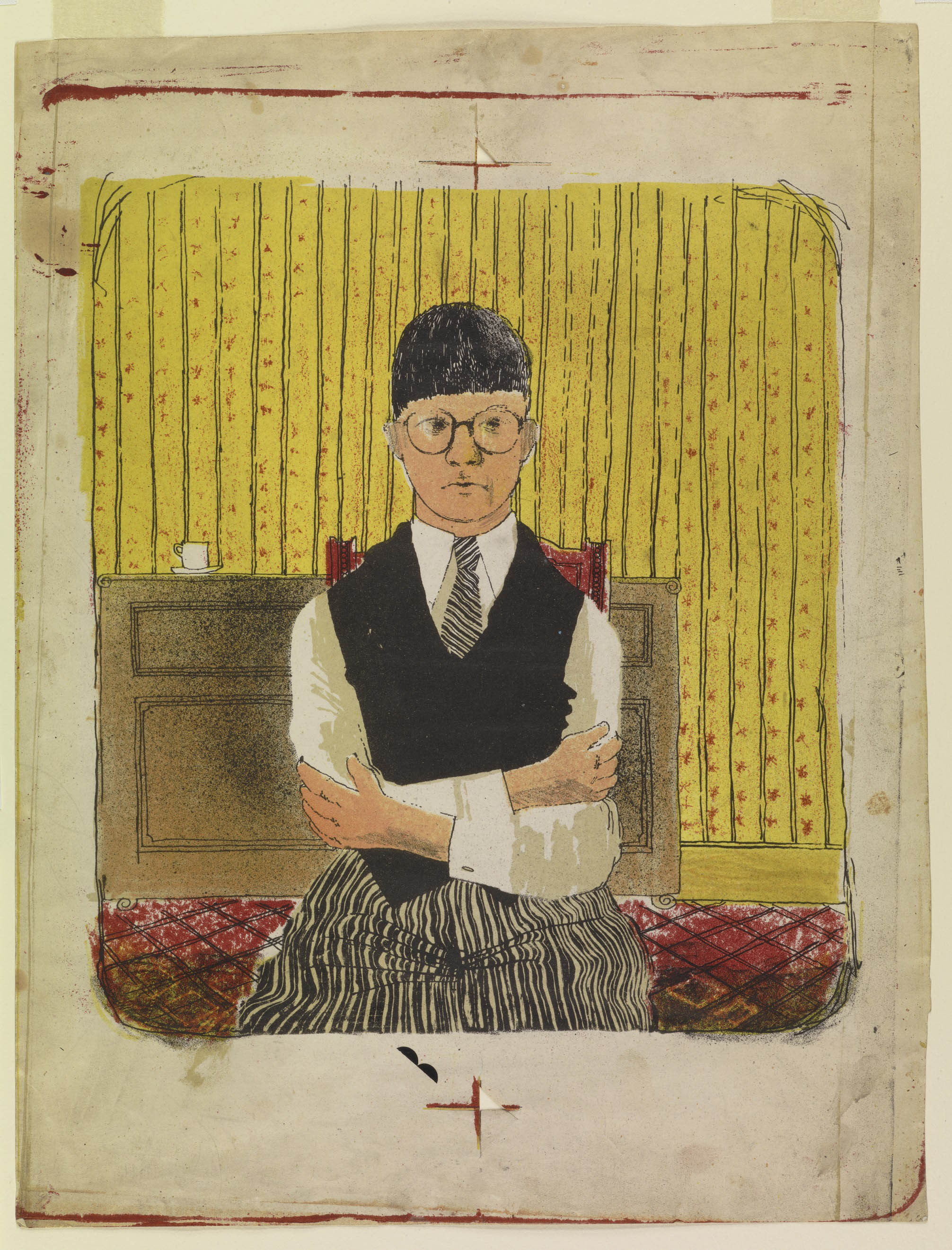 """Self Portrait , 1954, lithograph in five colours. Edition of 5 approximately, 11½ x 10¼"""""""