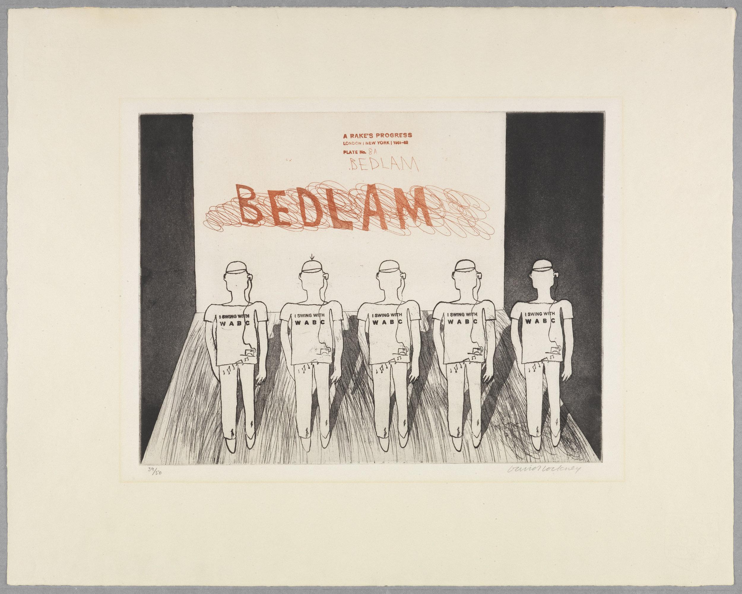 "Bedlam  from ""A Rake's Progress"", 1961 - 1963, etching, aquatint. Edition of 50, 17¾ x 11½"""