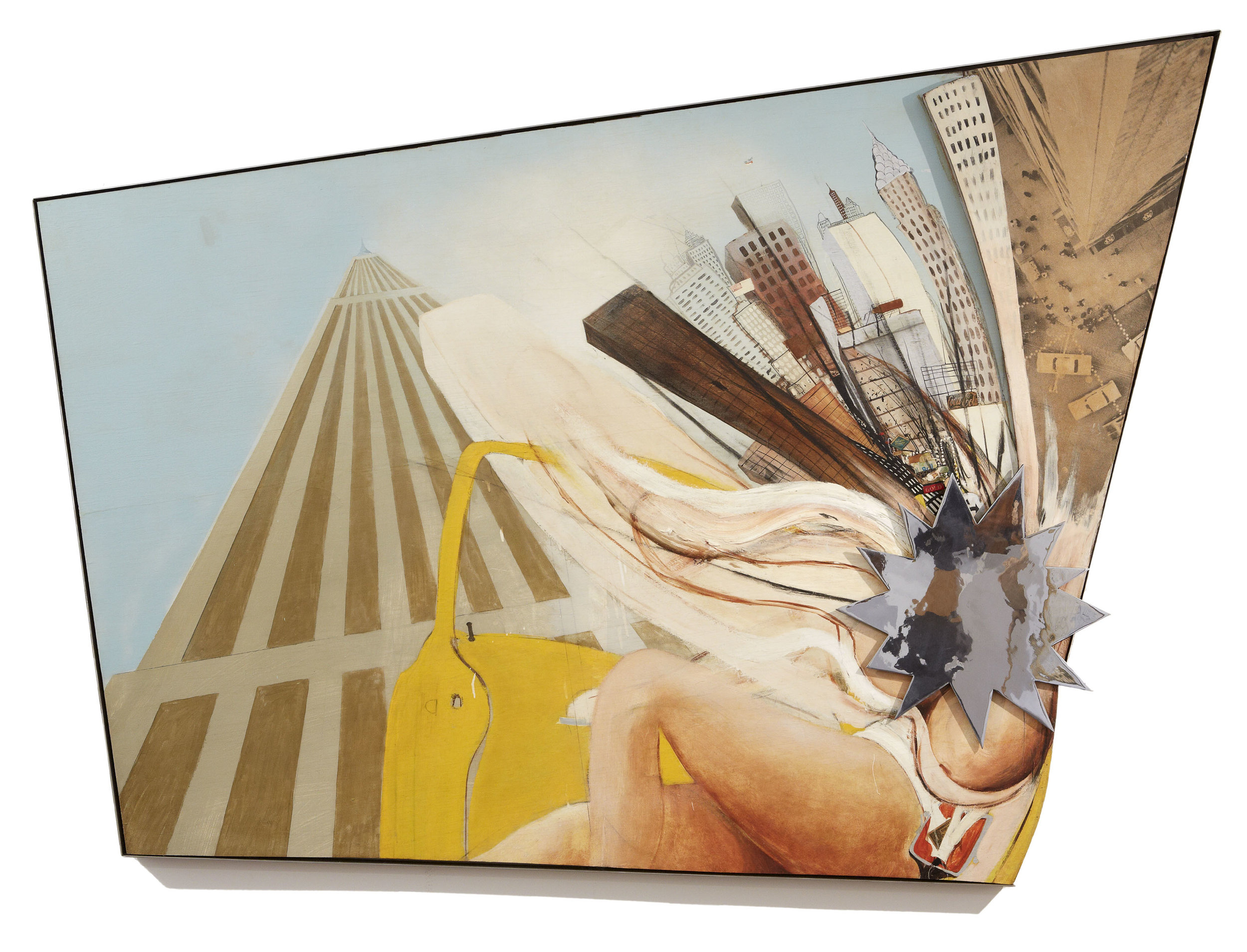 Brett Whiteley,  New York 1 1968 , oil, collage, chrome and mixed media on plywood, 172 x 238 x 6cm