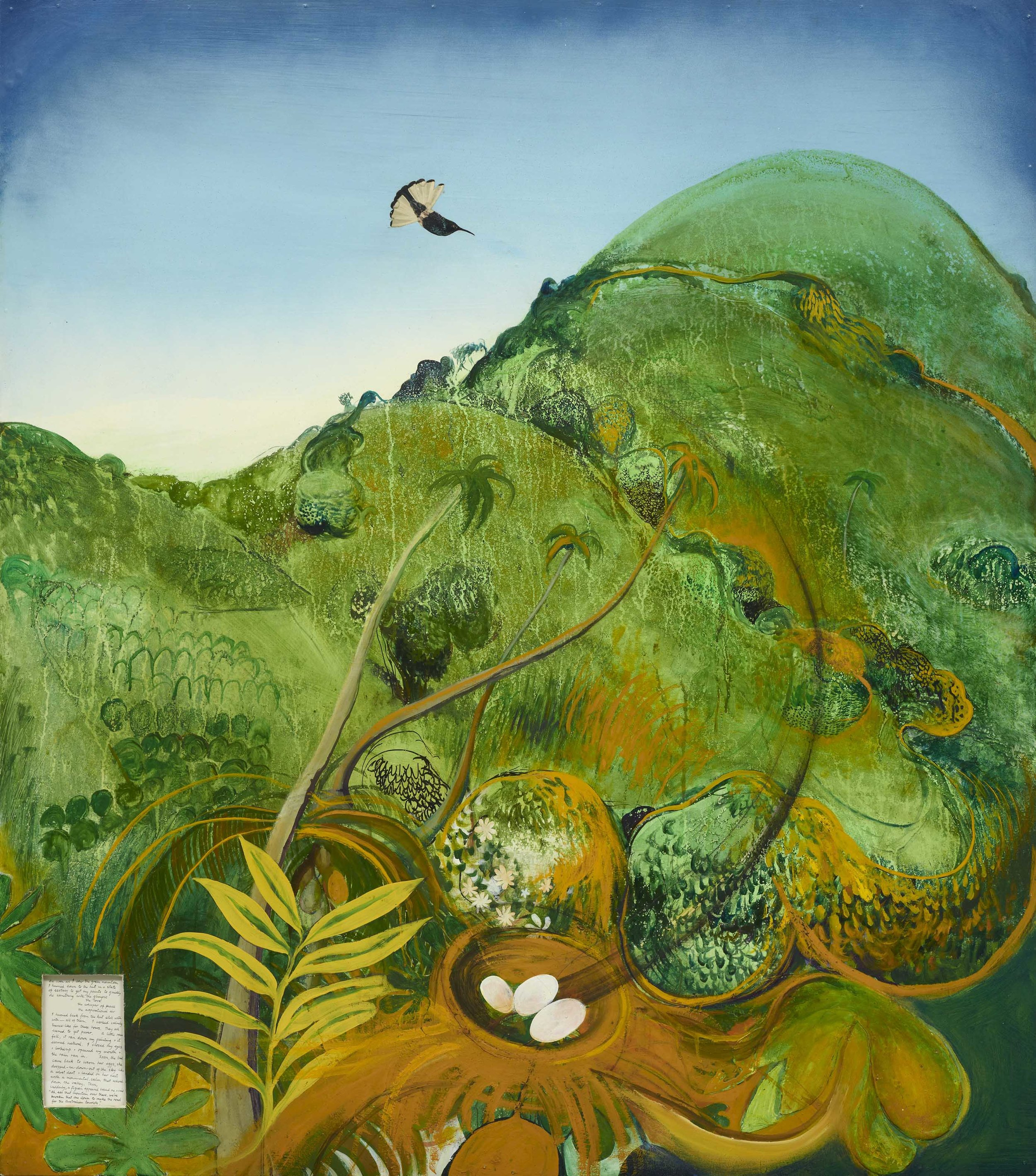 Brett Whiteley,  The green mountain (Fiji)  1969, oil, collage on cardboard, 137 x 122 cm