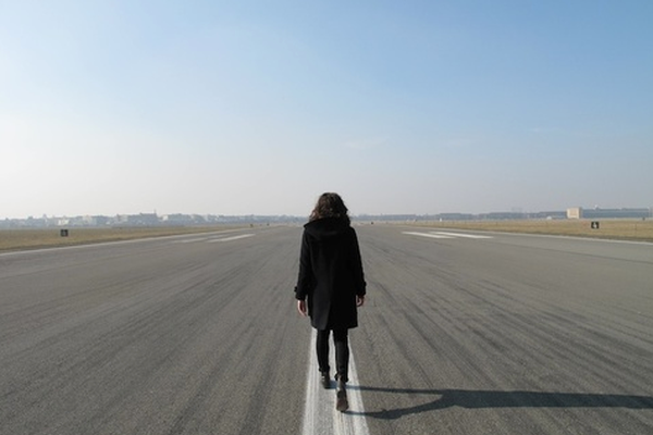 """Lauren Brincat, This Time Tomorrow, Tempelhof, 2011, Documentation of an action. Single-channel digital video, colour, audio, 5':19"""" Image courtesy the artist and Anna Schwartz Gallery"""