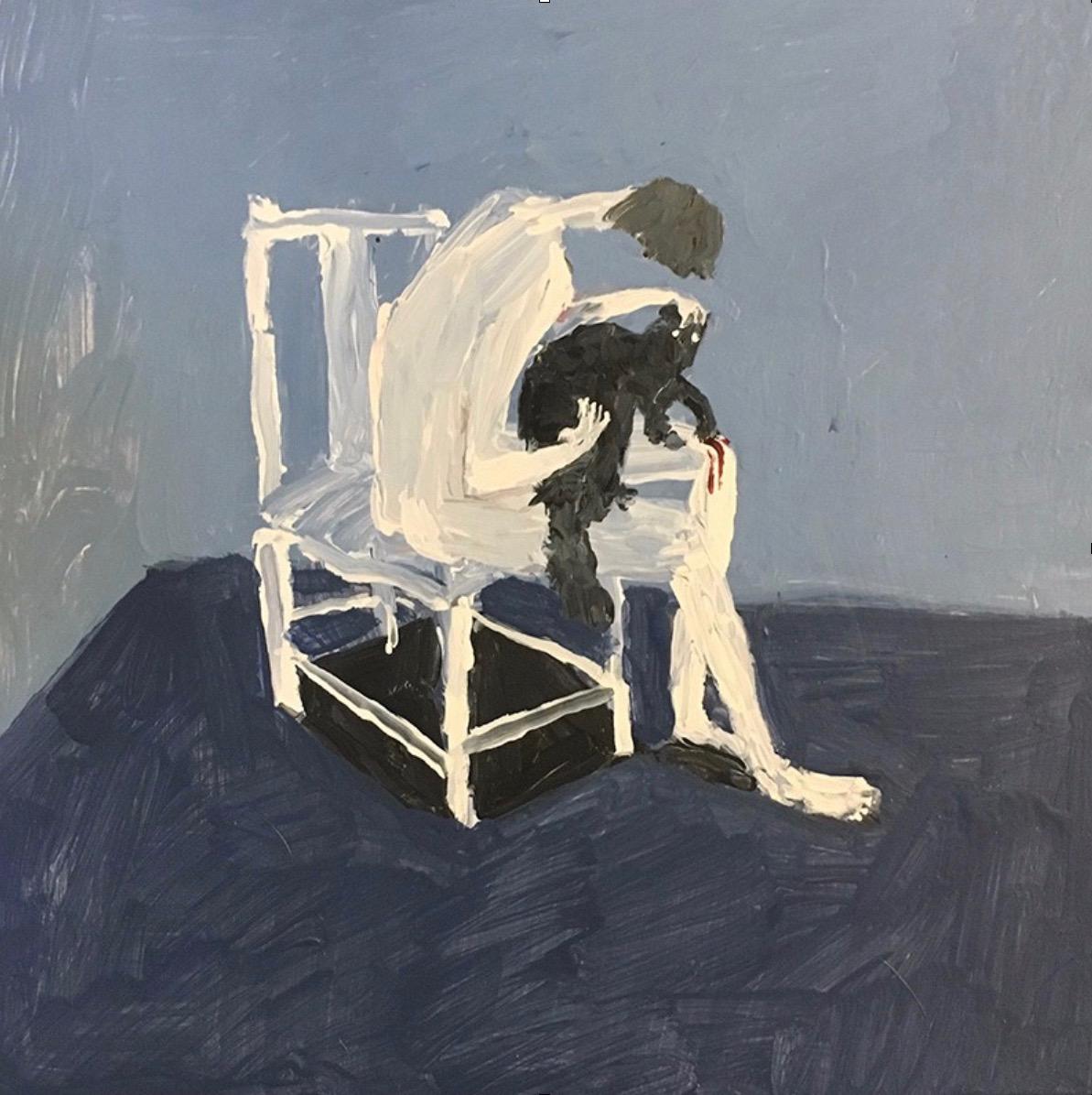 Vanessa Stockard  Pleasure and Pain, acrylic on board 30 x 30 cm (framed)