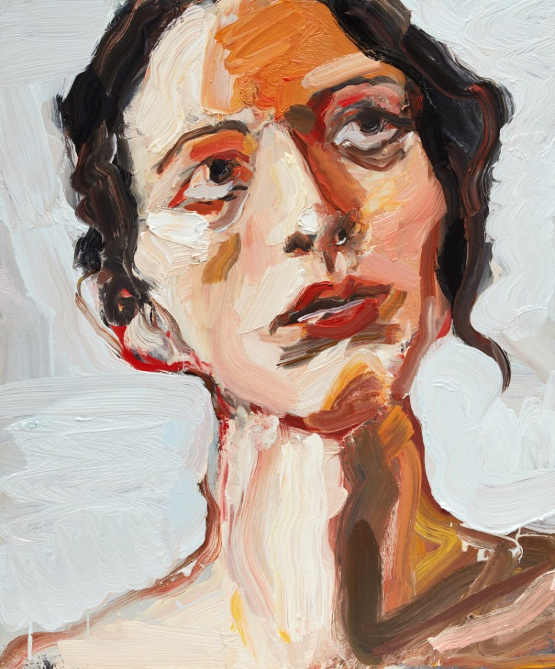 Robert Malherbe ,  Nina looking up   2018, oil on board, 46 x 38cm, image courtesy the artist and Michael Reid Gallery, Sydney