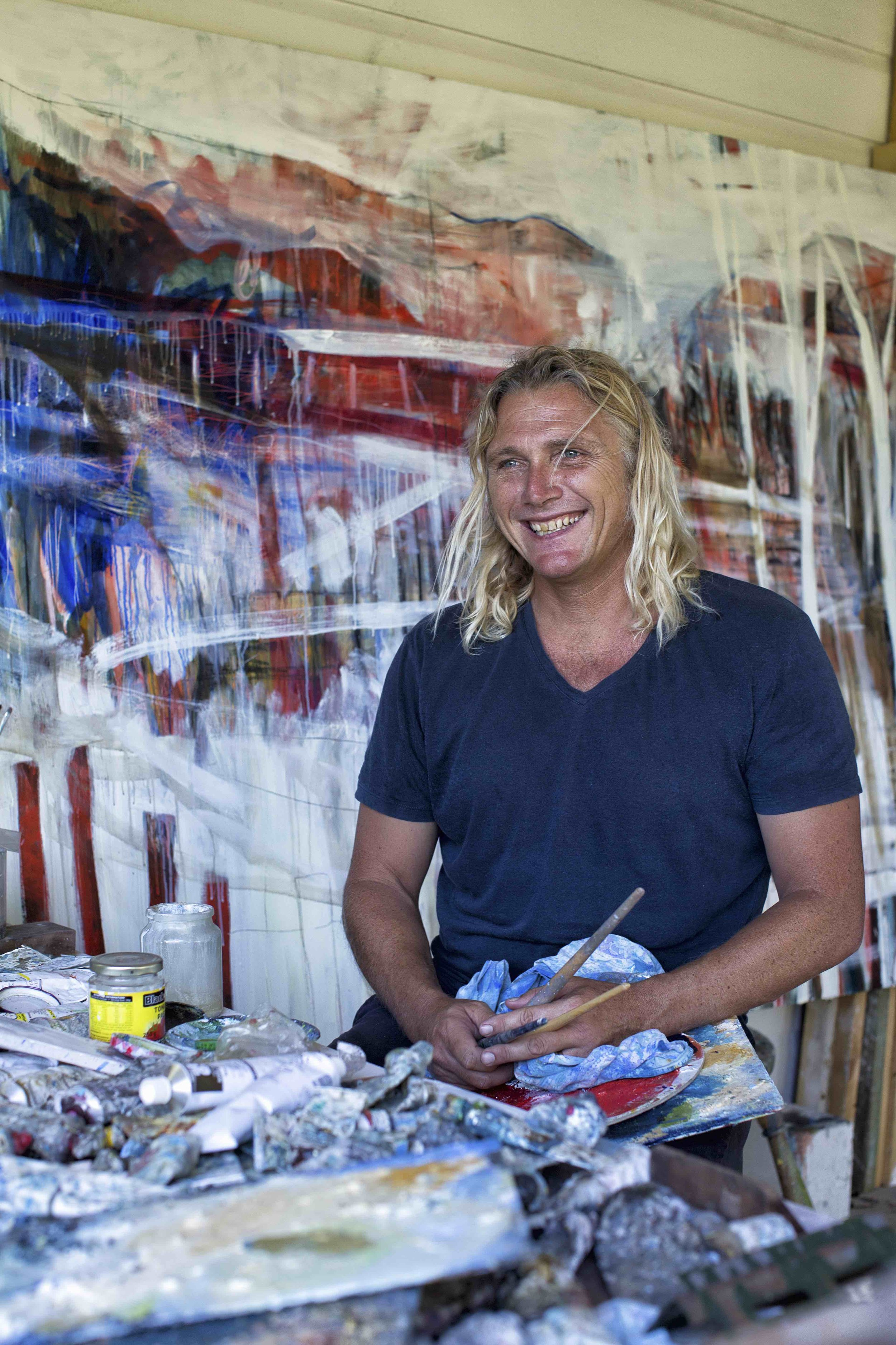 Charly in his studio in Byron Bay. Photography by Natalie Grono.