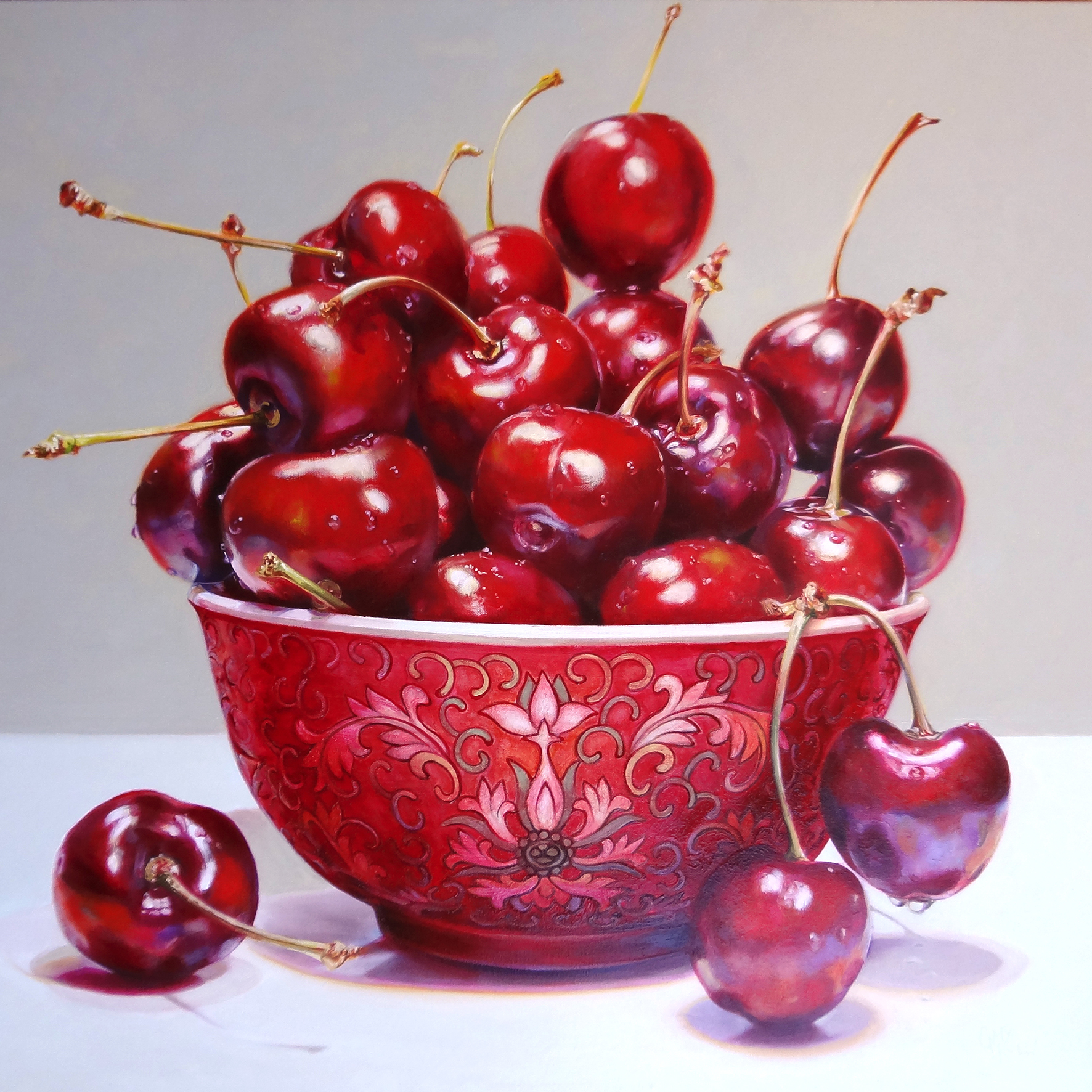 Cherry Amour , 2014, 91 x 91 cm, oil on canvas