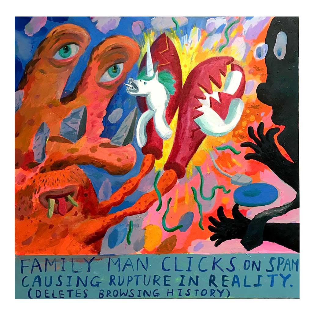 Family Man Spam , Niel 'Captain Pipe' McCann, acrylic on canvas, 75 x 75cm