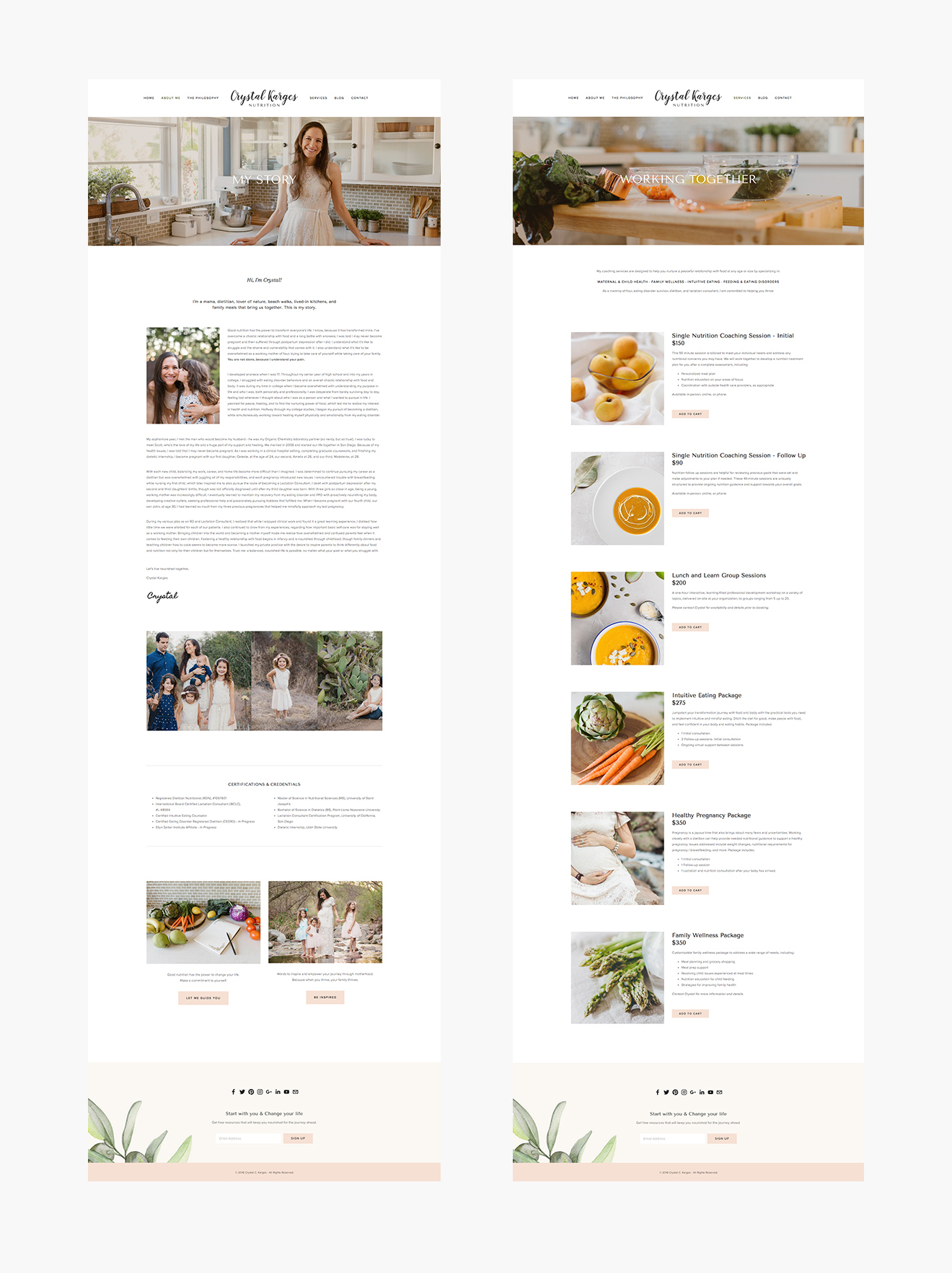 Crystal Karges Nutrition Web Design by LR Creative