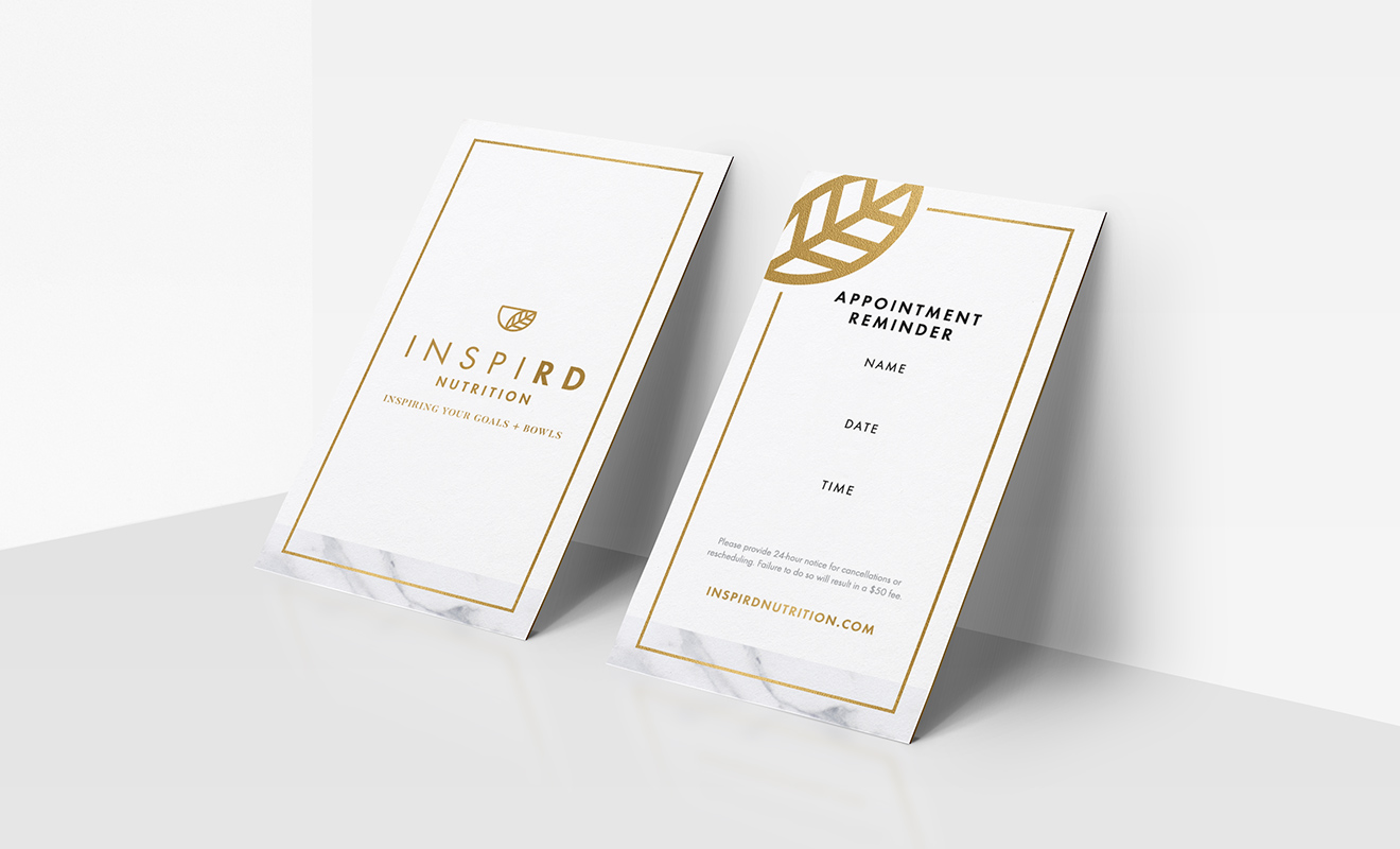 Inspird Nutrition Appointment Card Design by LR Creative