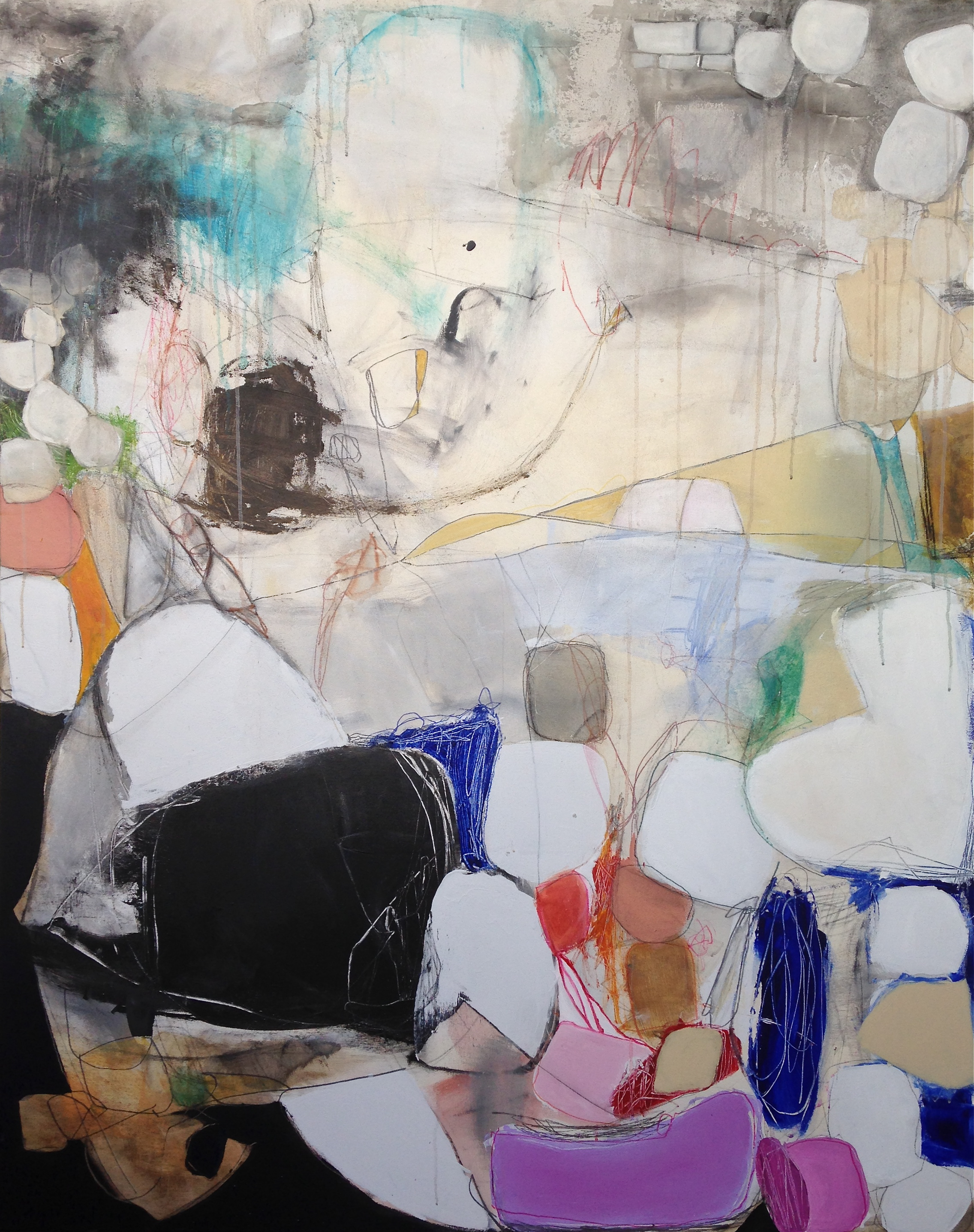 """""""White Wigs of the Court"""" Acrylic on canvas 60""""x48"""" $6,400 (SOLD)"""