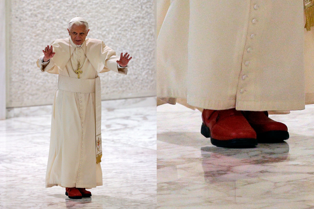 Pope Benedict wearing red Prada shoes.