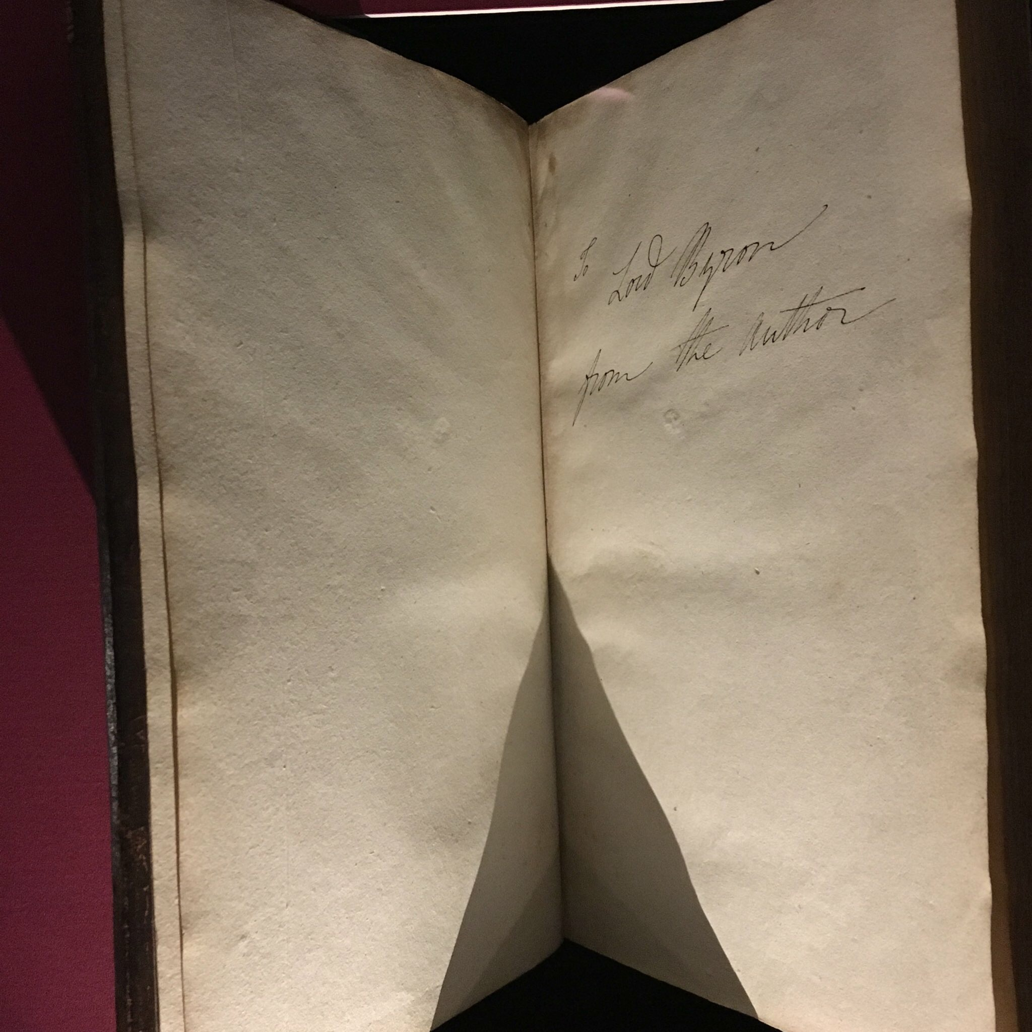 Dedication by Mary to Lord Byron of a copy of Frankenstein. (On Display at the Bodmer Foundation, Geneva)
