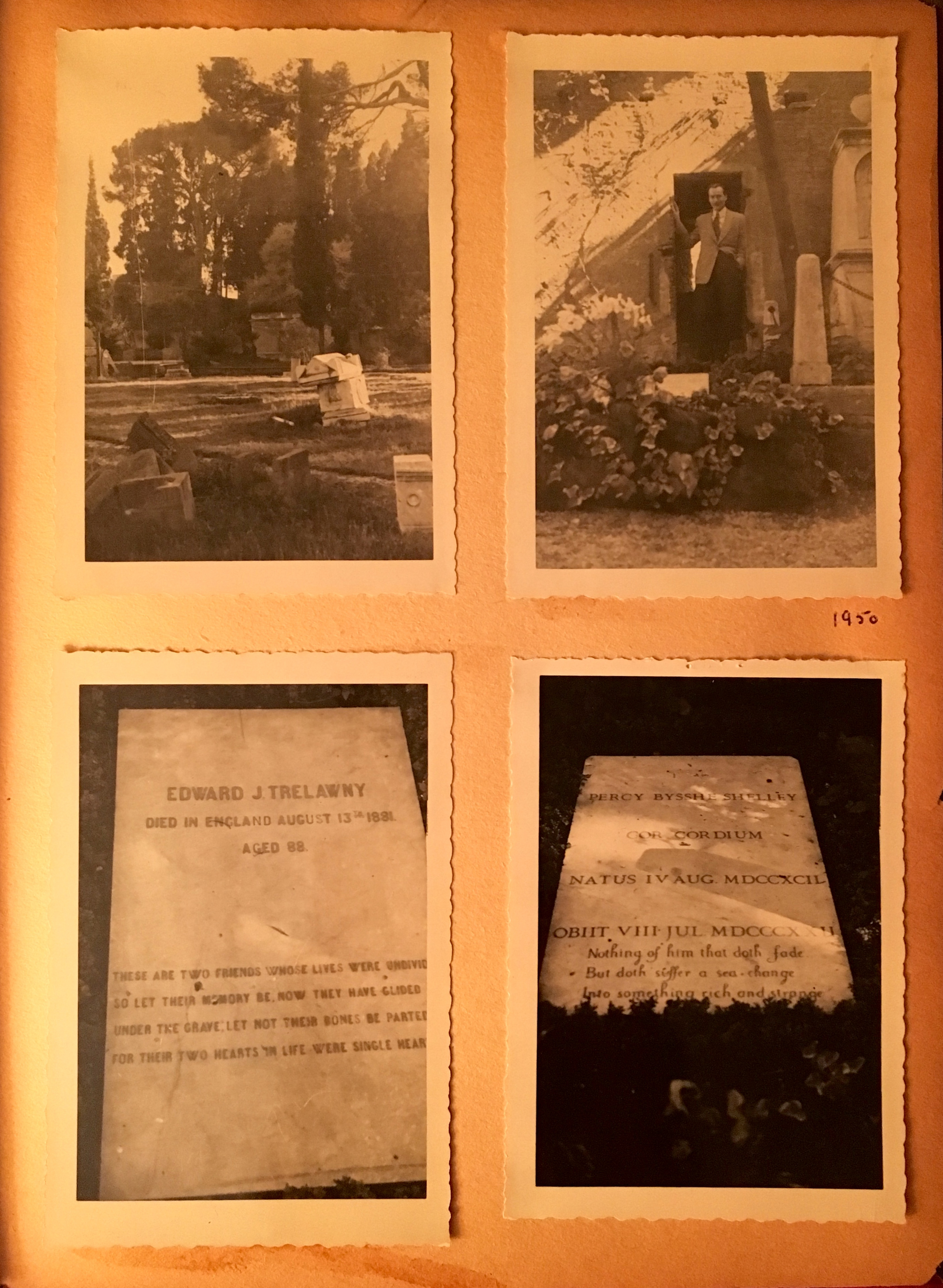 Upper right, Keats' tomb. Lower left, Trelawny, lower right, Shelley, Photographs 1950