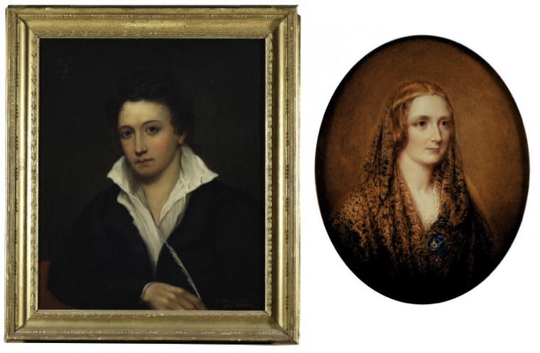 Percy Bysshe and Mary Shelley, from portraits in the Bodleian Library, Oxford.