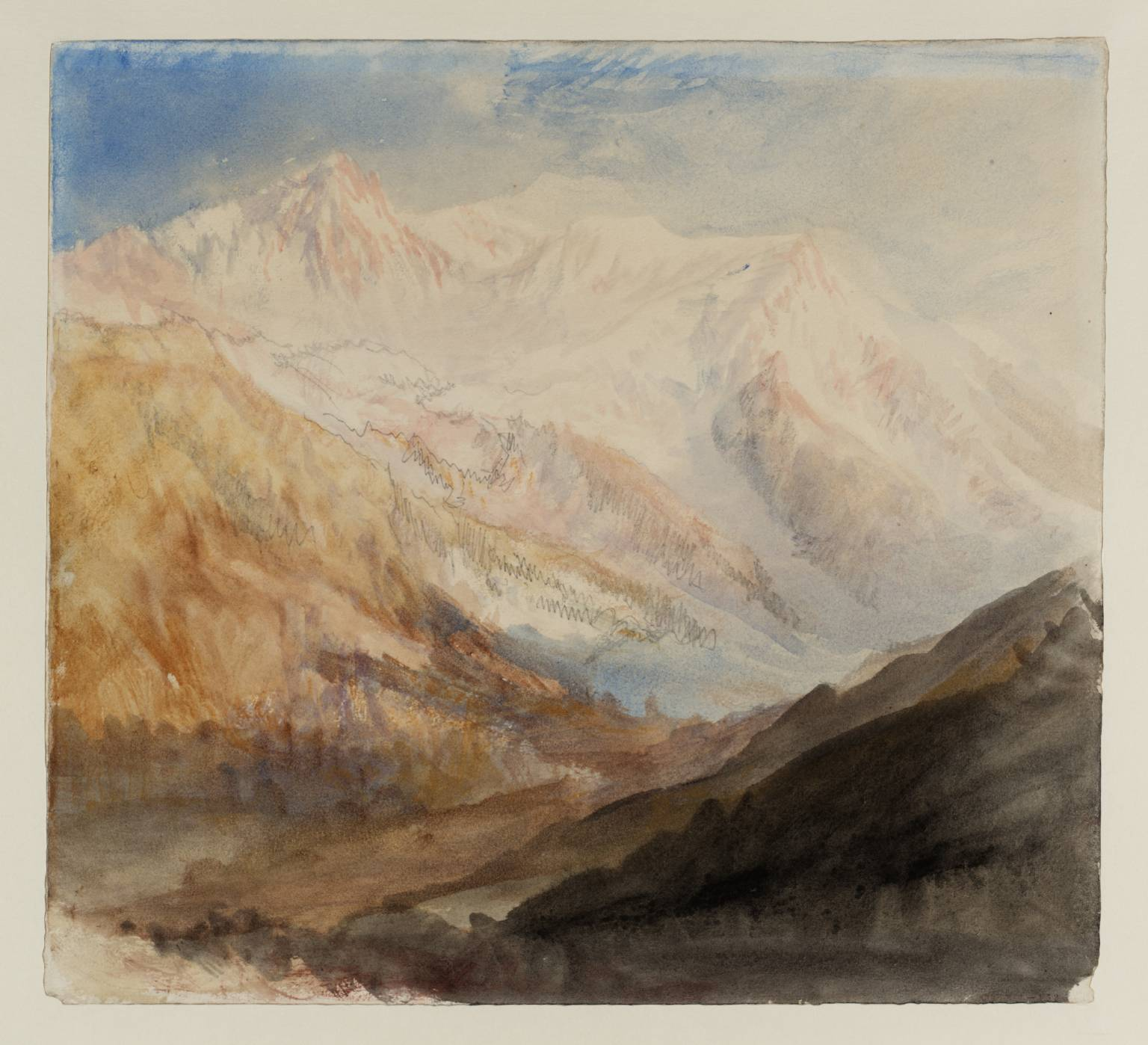 Joseph Mallord William Turner. Mont Blanc and the Glacier des Bossons from above Chamonix, dawn 1836.