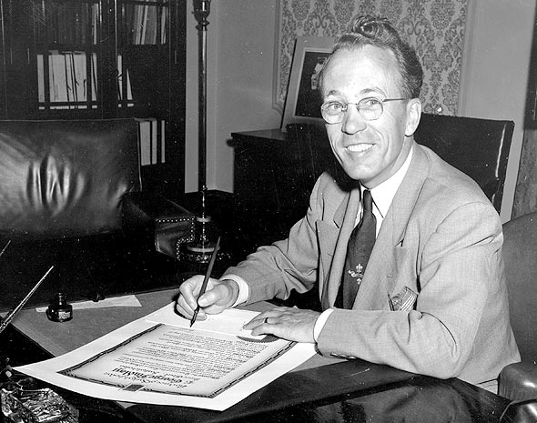 Tommy Douglas, leader of the New Democratic Party pictured in 1953.