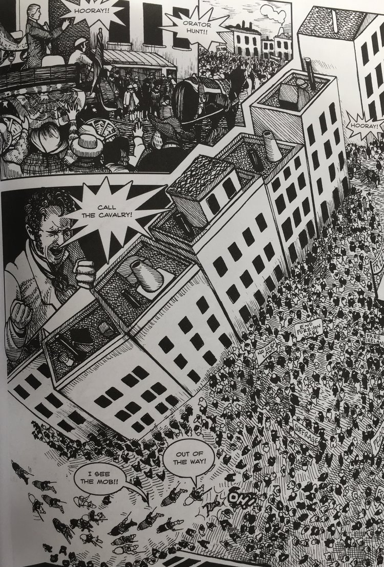 Detail from Michael Demson's  Masks of Anarchy.