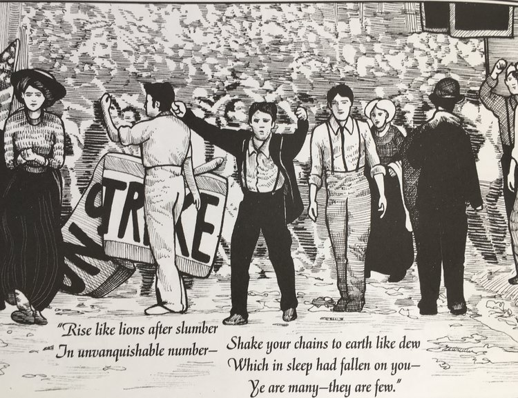 Image from Michael Demson's  Masks of Anarchy , a brilliant graphic novel that can be purchased  here .