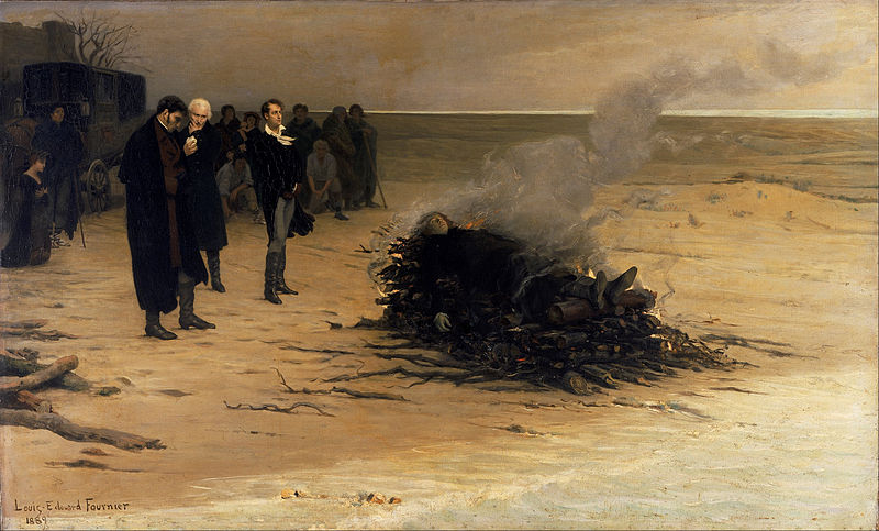The scene depicted in this famous 1889 painting NEVER HAPPENED. Byron was not there. Mary was not there. Hunt was not there. Shelley was cremated in a jury-rigged furnace. His body was badly decomposed. This painting is a lie.