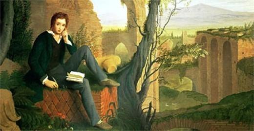 Joseph Severn, Posthumous Portrait of Shelley Writing Prometheus Unbound (1845)