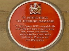 Commemoration to the 1819 Peterloo Massacre in Manchester.