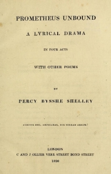 An early printing of Shelley's  Prometheus Unbound.