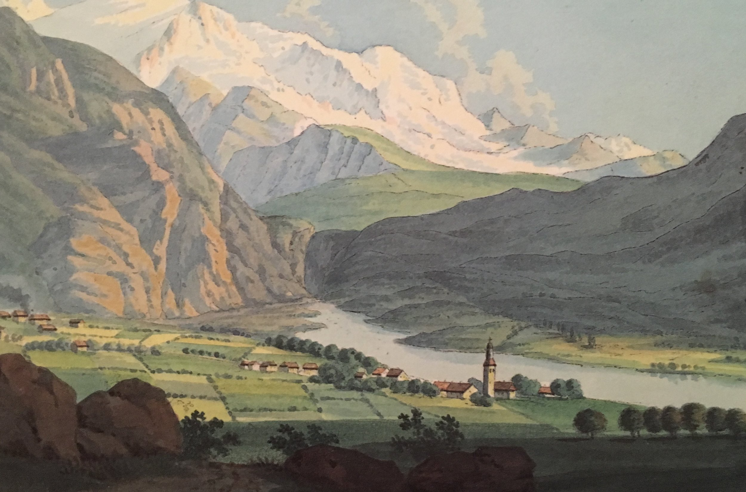 "Gabriel Charton, ""Servox"". From Souvenirs Pittoresques des Glaciers de Chamouny, 1821; reprinted by Tony Astil, 2015.  The church is still there."