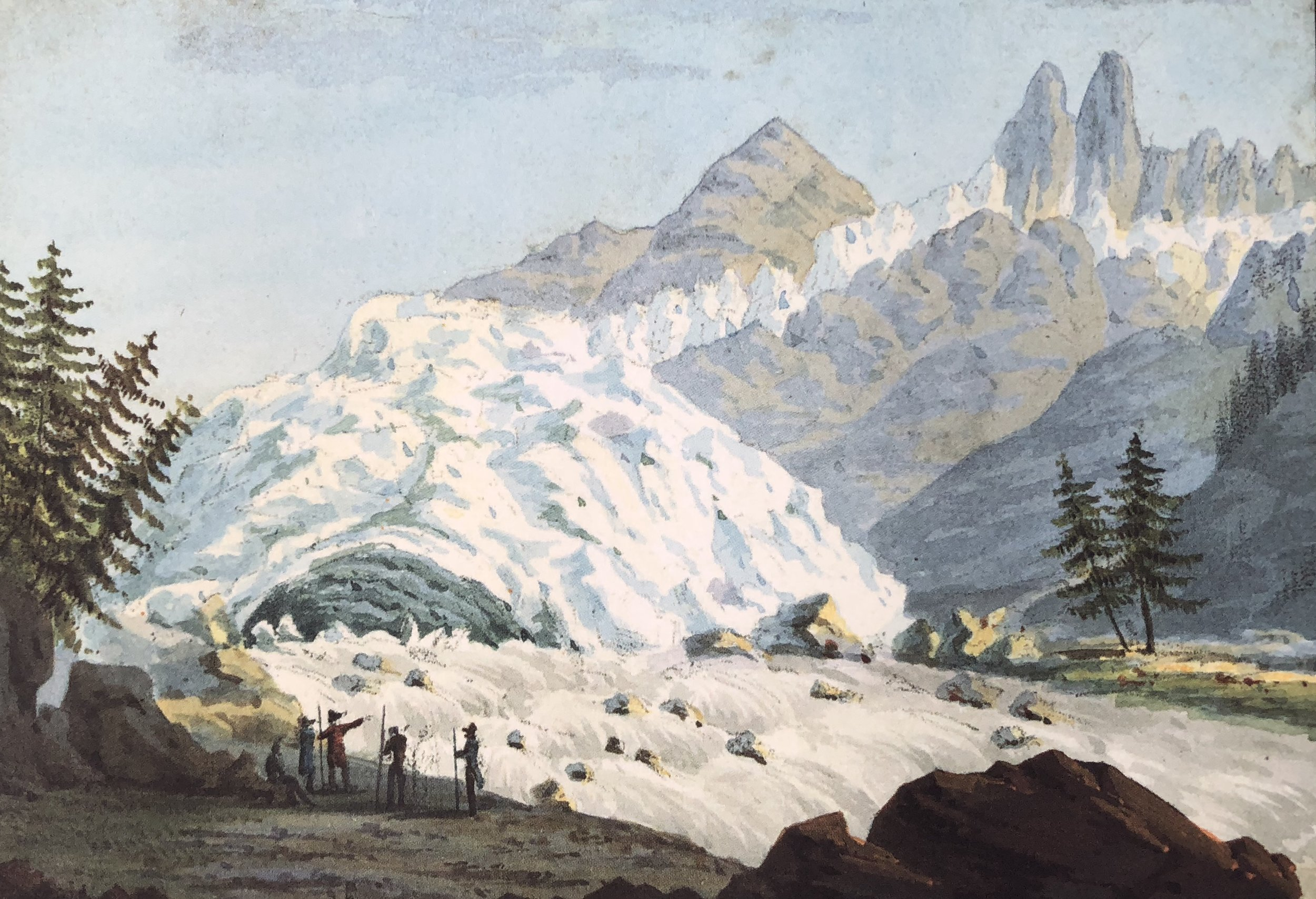 "Gabriel Charton, ""La Source de l'Arvenon"". From Souvenirs Pittoresques des Glaciers de Chamouny, 1821; reprinted by Tony Astil, 2015."