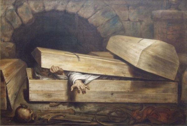 """""""Ginevra degli Almieri,"""" a Renaissance urban legend, tells of the burial and """"afterlife"""" of a Florentine woman. (Caption: Antoine Wiertz, The Premature Burial , 1854.)"""