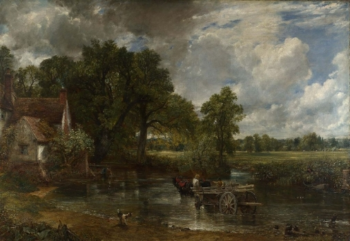 "Constable's  The Hay Wain  (1821), completed a year after the publication of Keats' great poem, ""To Autumn"""