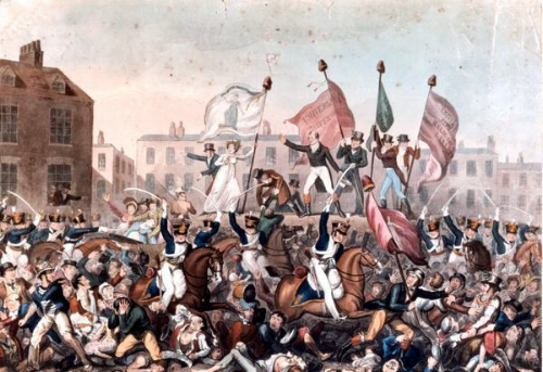 Unknown Illustrator, illustration of the Peterloo Massacre (1819)