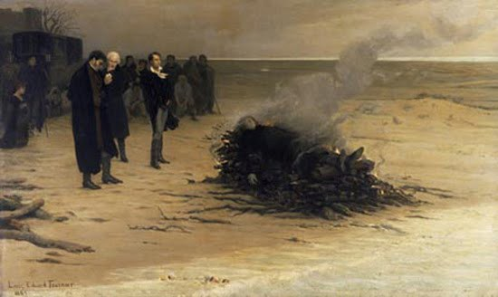 Louis Édouard Fournier, The Funeral of Shelley  (1889)