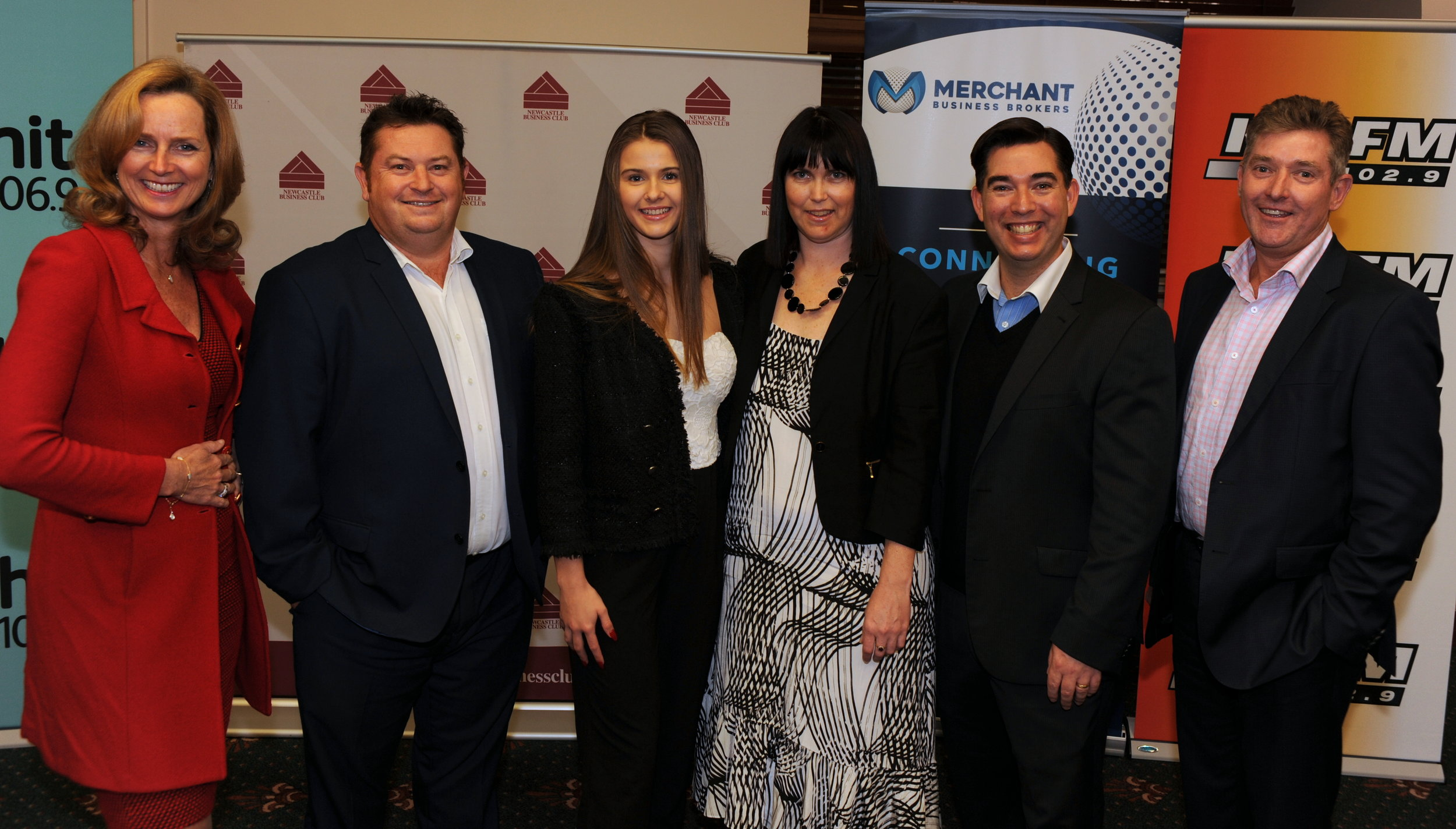 Kylie Wiblen (3rd from Right) pictured with Shark Tank hosts.