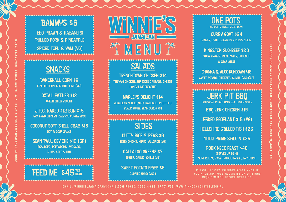 winnie's jamaican finnegans menu