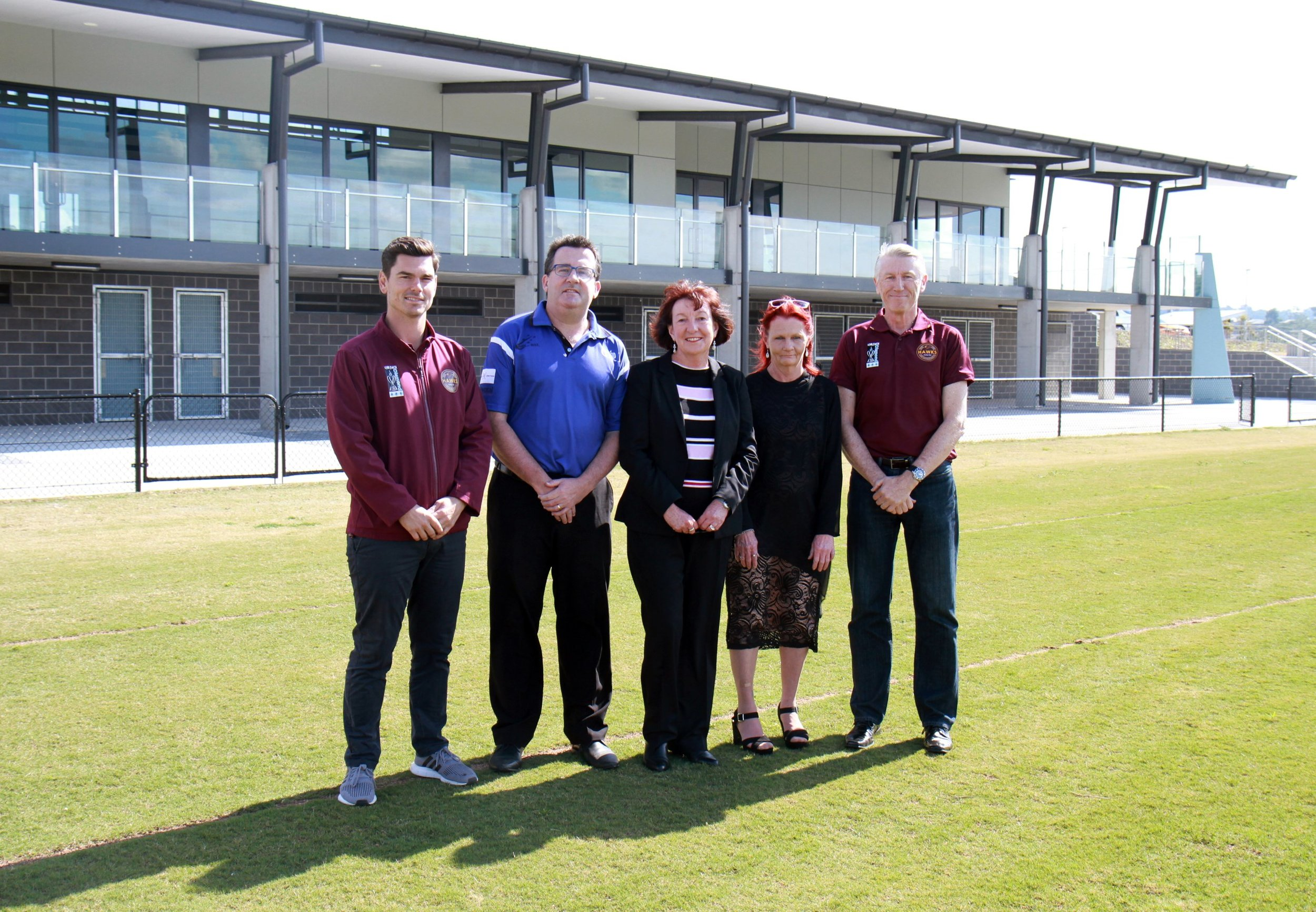 L-R: Cardiff Hawks President Quinton Davis, Cardiff Boolaroo District Cricket Club President Matthew Maher, Mayor of Lake Macquarie Cr Kay Fraser, Annette Pasterfield and Cardiff Hawks Secretary Peter Risby