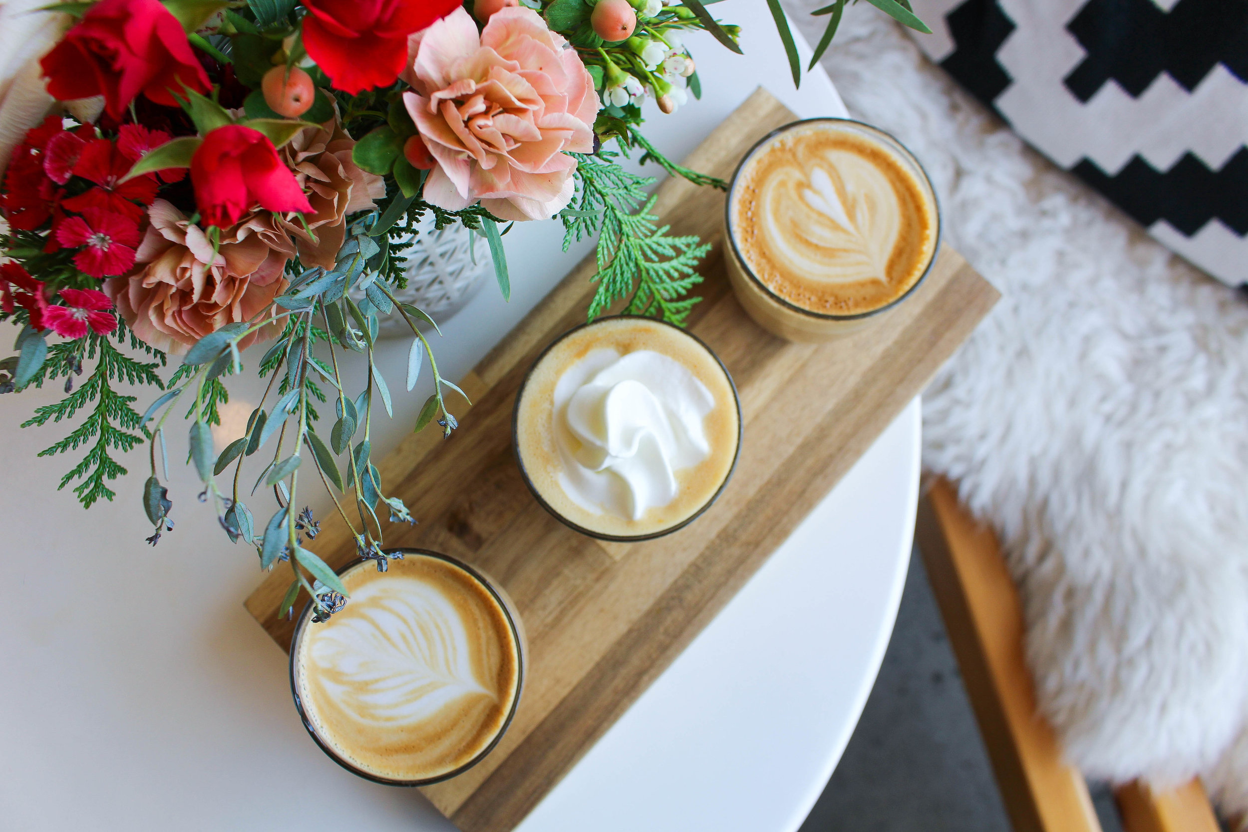 Seasonal Latte Flight ($10.50): Traditional Latte, Peppermint Mocha Latte, Pumpkin Spice Latte